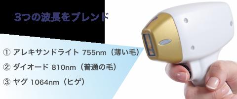 3つの波長をブレンド アレキサンドライト 755nm (薄い毛)ダイオード 810nm(普通の毛) ヤグ 1064nm(ヒゲ)
